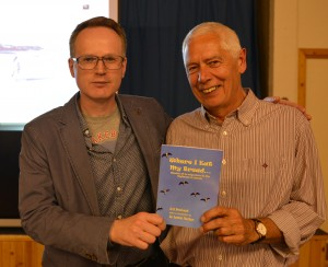 Film maker Robert Aitken (left) and author Brian Macleod with 'Where I eat my bread'